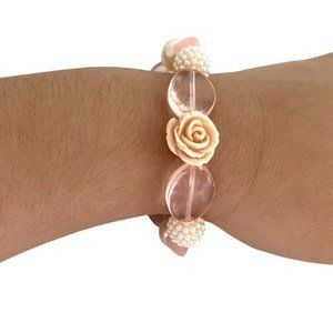 """Floral Faux Pearl Mix Beaded Stretch Bracelet 7"""""""